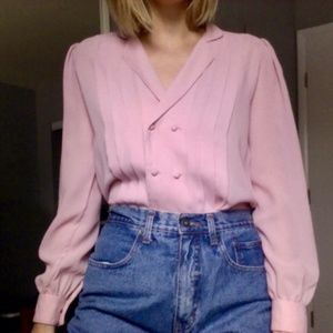 [Vintage] Pale Pink Double Breasted Button Top